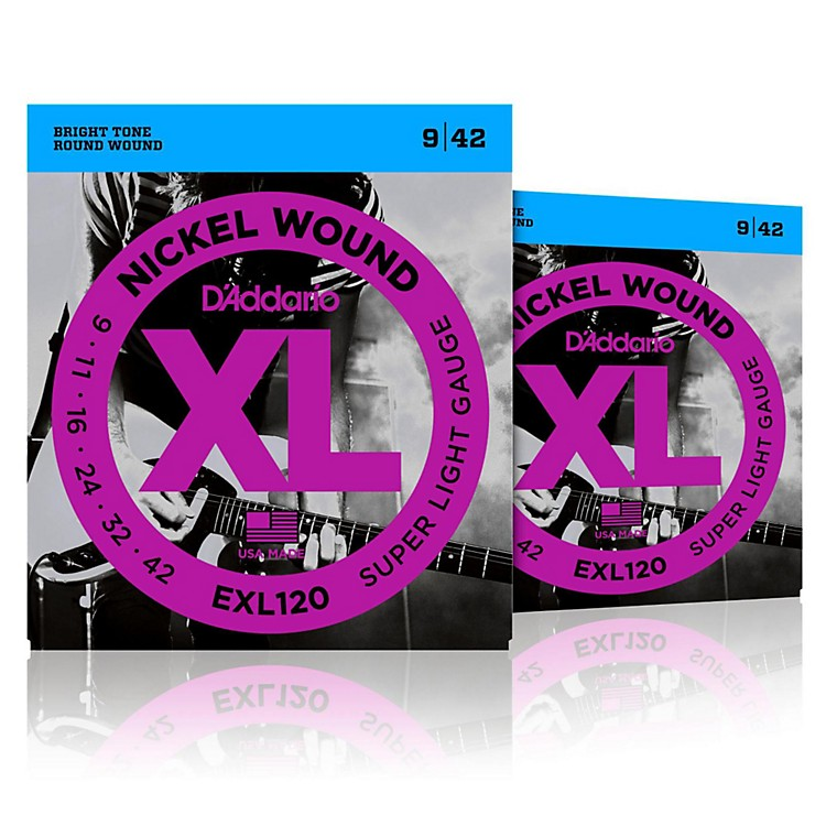 D'Addario EXL120 Nickel Super Light Electric Guitar Strings Two-Pack