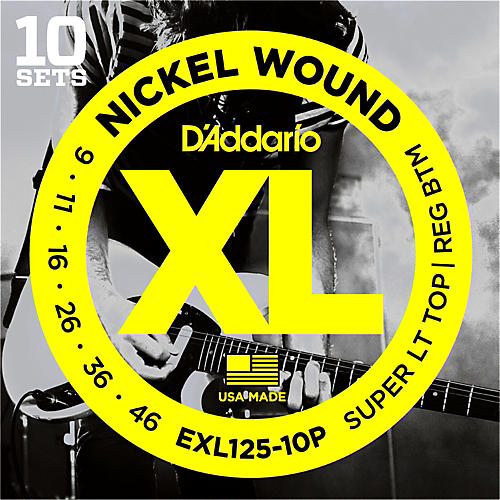 D'Addario EXL125 Super Light Top/Regular Bottom Electric Guitar Strings 10-Pack-thumbnail