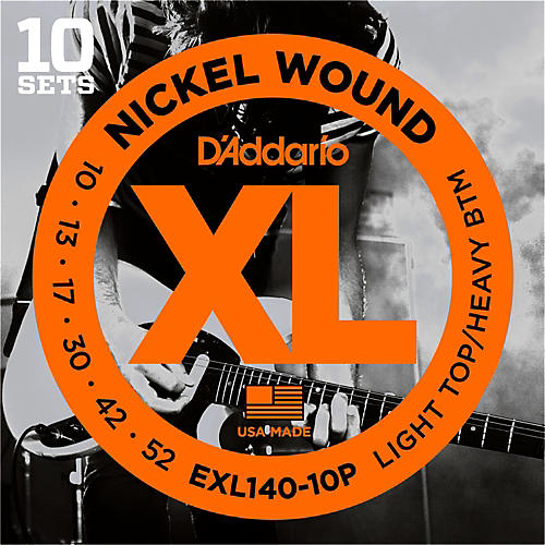 D'Addario EXL140 Light Top/Heavy Bottom Electric Guitar Strings 10-Pack