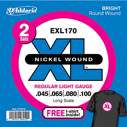 D'Addario EXL170TP Twin Pack of Bass Guitar Strings with Free T-Shirt-thumbnail