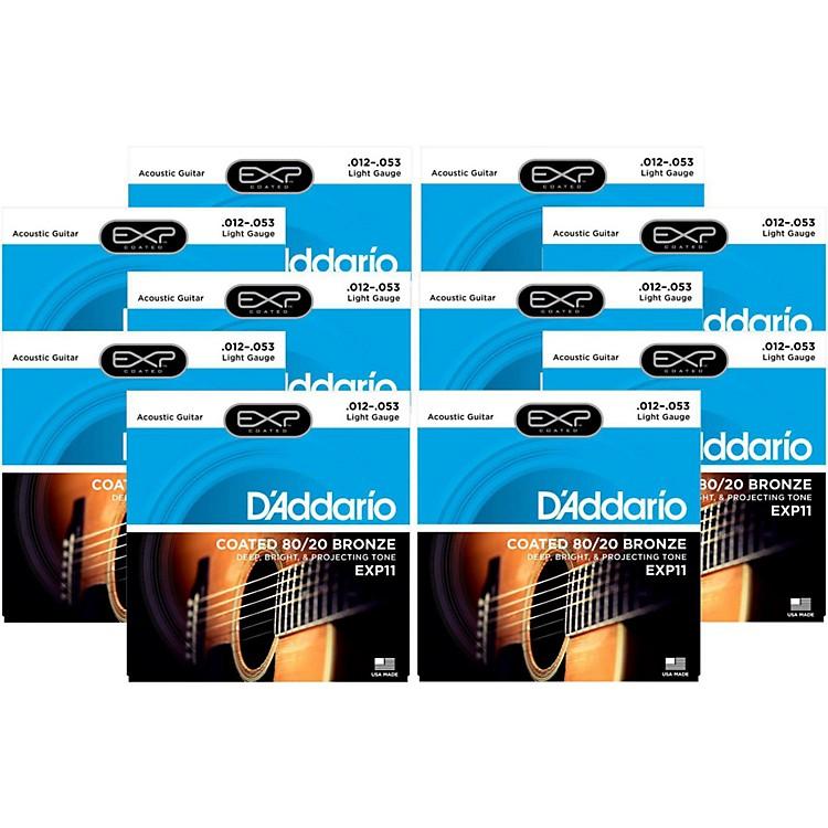 D'AddarioEXP11 Coated 80/20 Bronze Light Acoustic Guitar Strings - 10 Pack