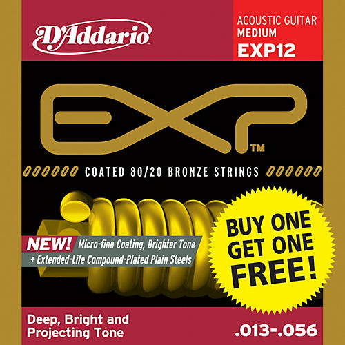 D'Addario EXP12 Coated 80/20 Bronze Medium 6-String Acoustic String Set - Buy One Get One Free-thumbnail