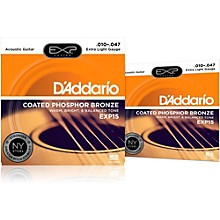 D'Addario EXP15 Coated Phosphor Bronze Extra Light Acoustic Guitar Strings 2-Pack