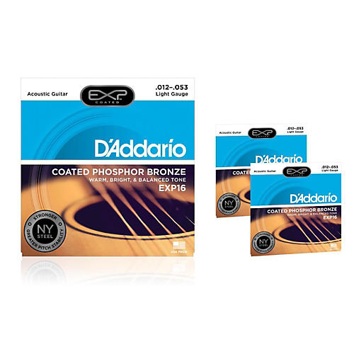 D'Addario EXP16 Coated Phosphor Bronze Light Acoustic Guitar Strings 3-Pack-thumbnail