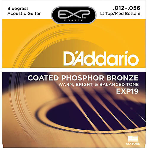 D'Addario EXP19 Coated Phosphor Bronze Bluegrass Acoustic Guitar Strings-thumbnail