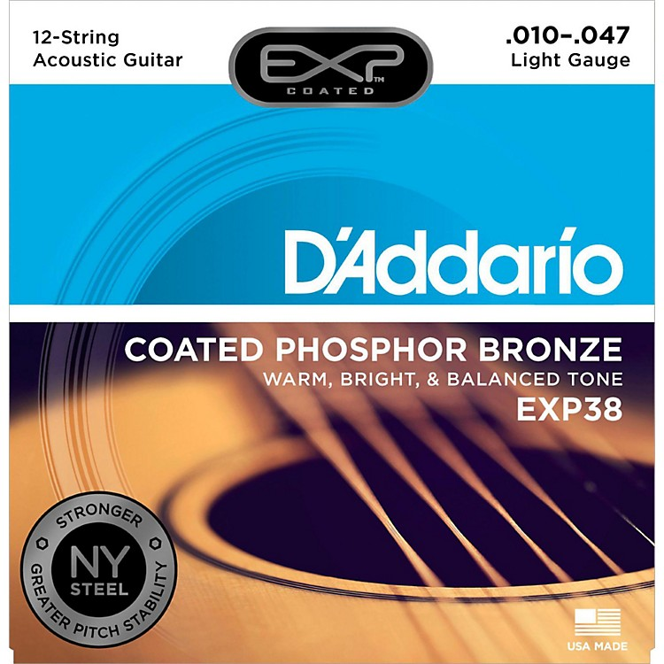 D'Addario EXP38 12-String Coated Phosphor Bronze Light Acoustic Guitar Strings