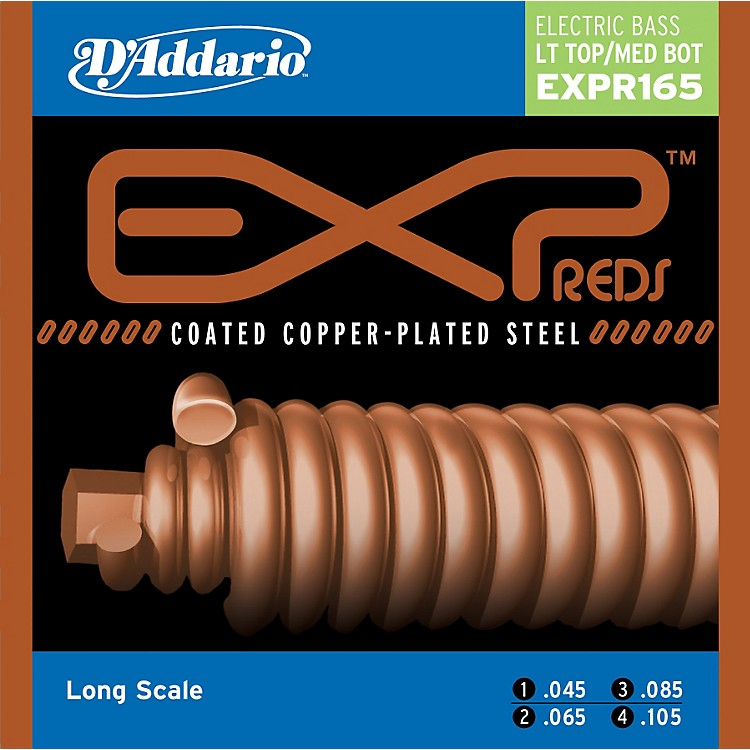 D'Addario EXPPR165 Reds Long Scale Light Top/Medium Bottom Electric Bass strings