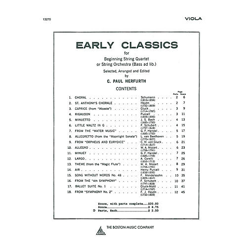 Music Sales Early Classics For Beg. String 4Tet Viola Music Sales America Series