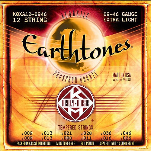 Kerly Music Earthtones Phosphor Bronze 12-String Acoustic Guitar Strings - Extra Light 9-46