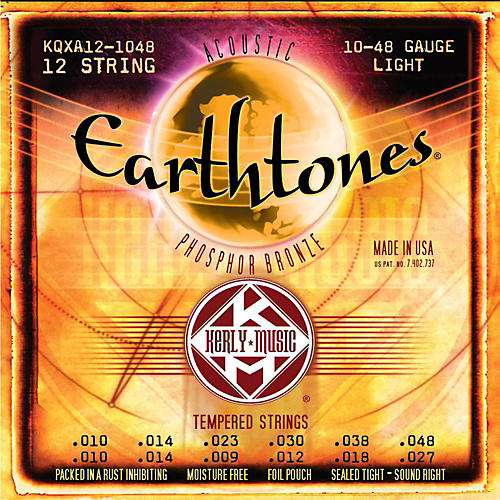 Kerly Music Earthtones Phosphor Bronze 12-String Acoustic Guitar Strings - Light 10-48