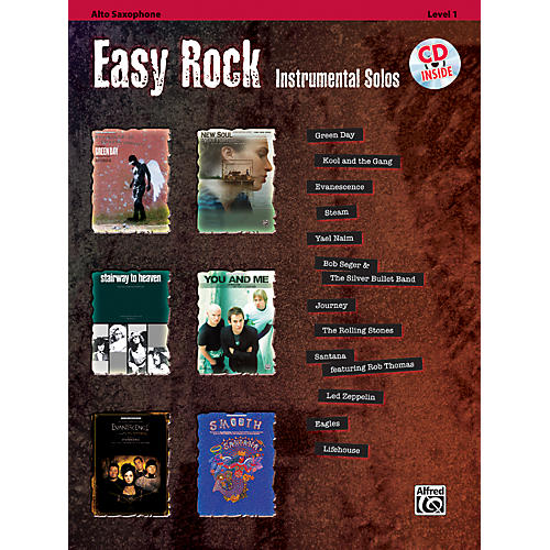 Alfred Easy Rock Instrumental Solos Level 1 Alto Sax Book & CD