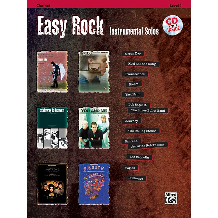 Alfred Easy Rock Instrumental Solos Level 1 Clarinet Book & CD