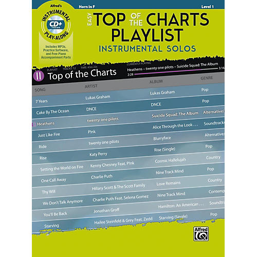 Alfred Easy Top of the Charts Playlist Instrumental Solos Horn in F Book & CD Level 1-thumbnail