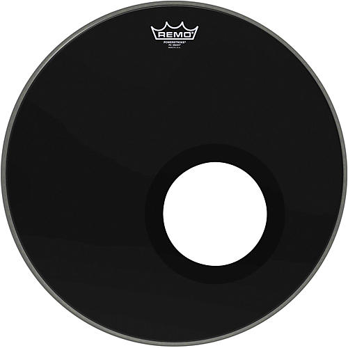 Remo Ebony Powerstroke 3 Resonant Bass Drum Head with 5 Inch Port Hole