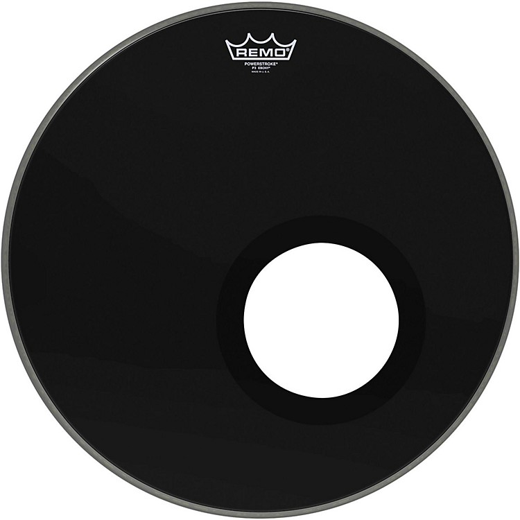RemoEbony Powerstroke 3 Resonant Bass Drum Head with 5 Inch Port HoleEbony18 Inches