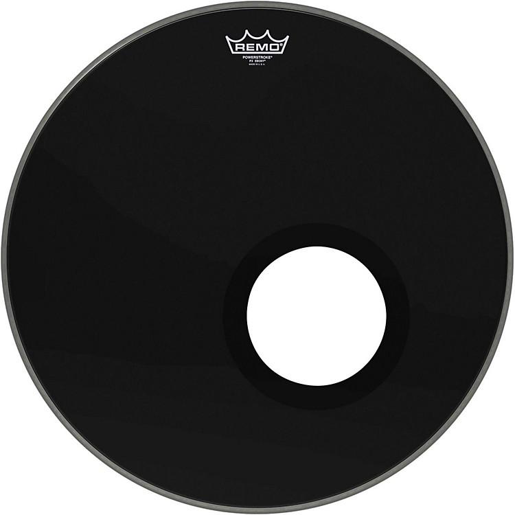 RemoEbony Powerstroke 3 Resonant Bass Drum Head with 5 Inch Port HoleEbony20 Inch