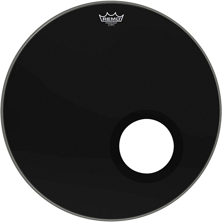 remo ebony powerstroke 3 resonant bass drum head with 5 inch port hole ebony 22 in musician 39 s. Black Bedroom Furniture Sets. Home Design Ideas