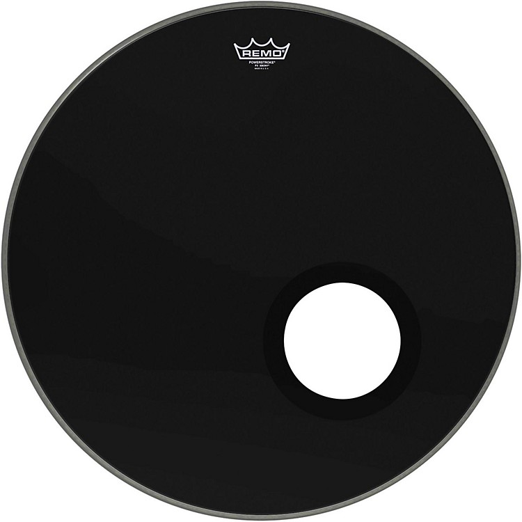 Remo Ebony Powerstroke 3 Resonant Bass Drum Head with 5 Inch Port Hole