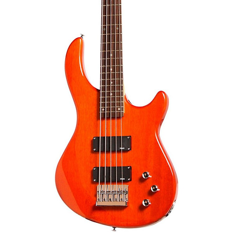 Dean Edge 1 5-String Electric Bass Guitar Trans Amber