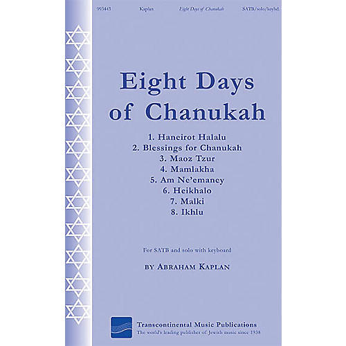 Transcontinental Music Eight Days of Chanukah SATB composed by Abraham Kaplan-thumbnail