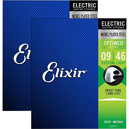 Elixir Electric Guitar Strings with OPTIWEB Coating, Custom Light (.009-.046) - 2 Pack
