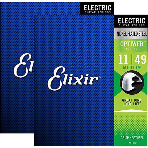 Elixir Electric Guitar Strings with OPTIWEB Coating, Medium (.011-.049) - 2 Pack-thumbnail