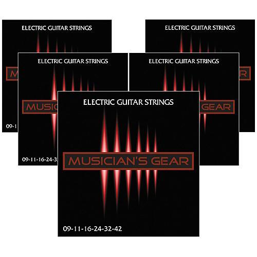 Musician's Gear Electric Nickel Plated Steel Guitar Strings 9-42 - 5-Pack-thumbnail