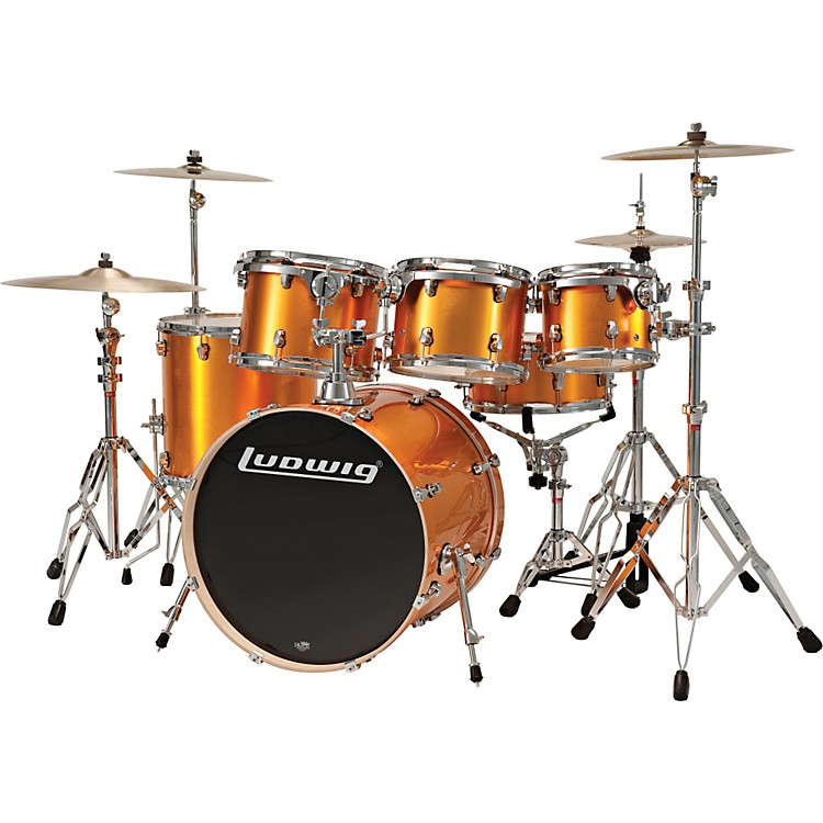 Ludwig Element 5-Piece Power Shell Pack With Free 10x8 Tom Orange