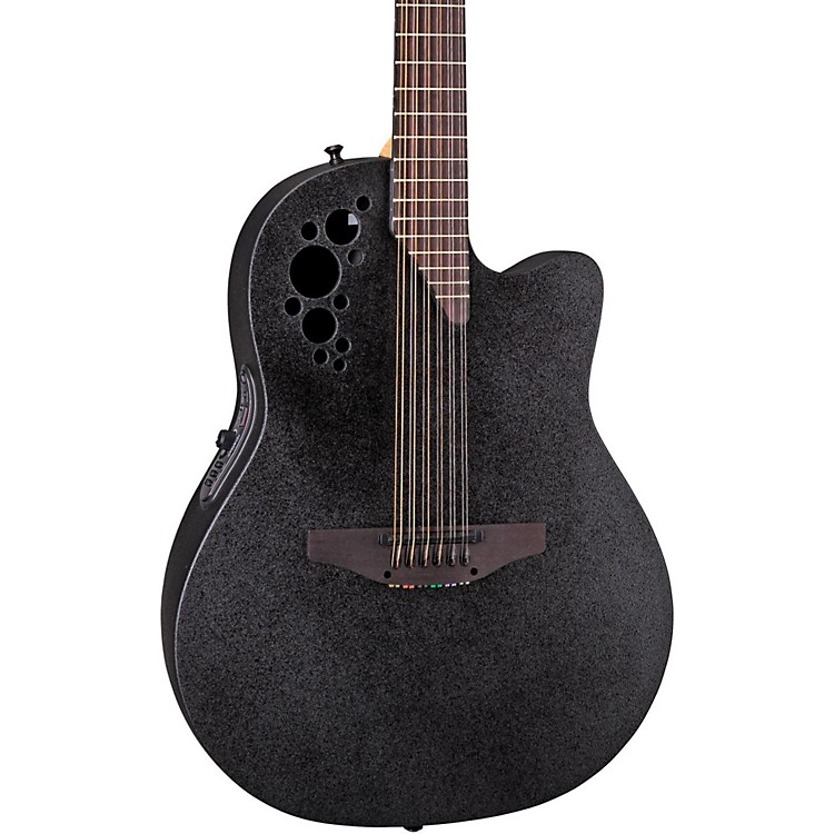 Ovation Elite 2058 TX 12-String Acoustic-Electric Guitar Black