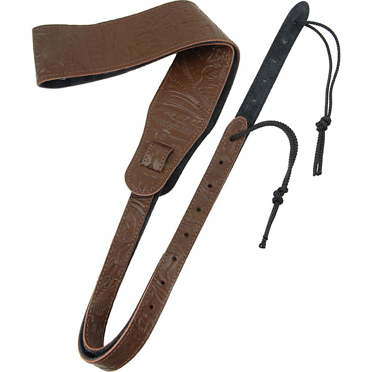Planet Waves Embossed Leather Banjo Strap Brown