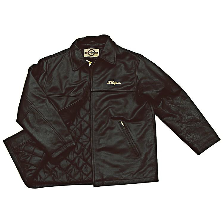 ZildjianEmbroidered Logo Leather JacketBlackXX Large