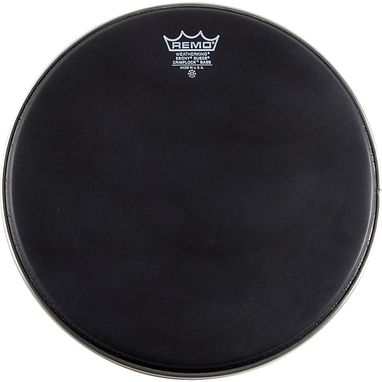 Remo Emperor Ebony Suede Crimplock Marching Bass Drumhead Black Suede 22