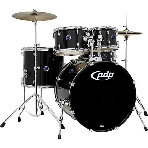 pdp by dw encore 5 piece drum kit with hardware and cymbals black musician 39 s friend. Black Bedroom Furniture Sets. Home Design Ideas