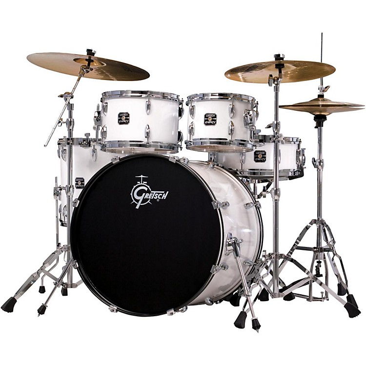Gretsch Drums Energy 5-Piece Drum Set With Hardware and Sabian Cymbals White