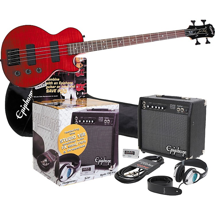 EpiphoneEpiphone Limited Edition LP Special Flame Maple All Access Bass Guitar Pack