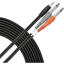 "Livewire Essential Interconnect Y-Cable 3.5 mm TRS Male to 1/4"" TS Male 15 ft. Black"