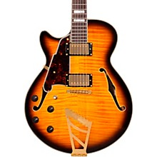 D'Angelico Excel Series SS Left-Handed Semi-Hollowbody Electric Guitar with Stairstep Tailpiece Vintage Sunburst