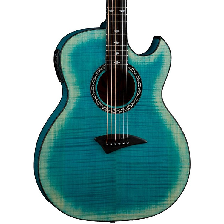 DeanExhibition Flame Maple Acoustic-Electric Guitar with AphexFaded denim