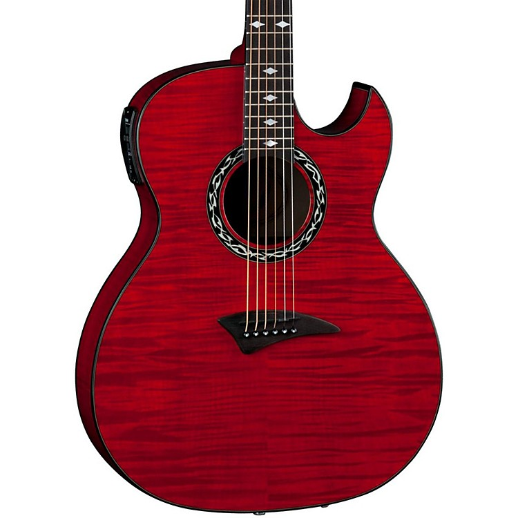 DeanExhibition Flame Maple Acoustic-Electric Guitar with AphexTrans Red