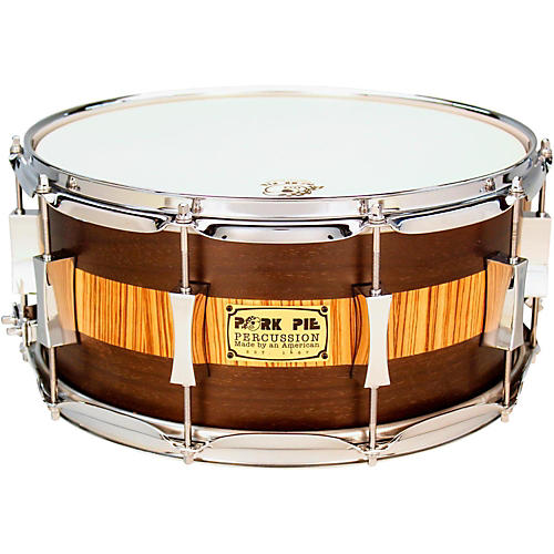 Pork Pie Exotic Rosewood Zebrawood Snare Drum-thumbnail
