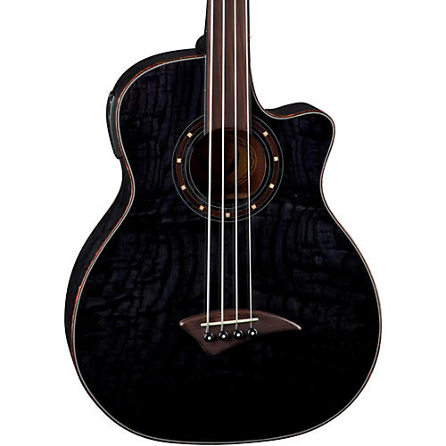 Dean Exotica Quilt Fretless Acoustic-Electric Bass Trans Black