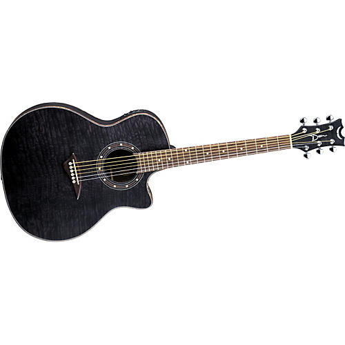 Dean Exotica Quilted Ash Acoustic-Electric Guitar Satin Transparent Black