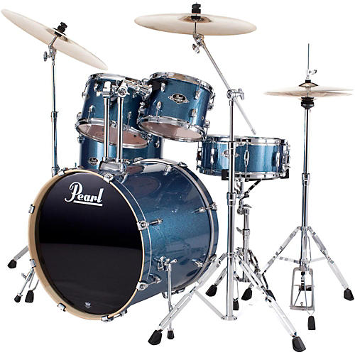 Pearl Export New Fusion 5-Piece Drum Set with Hardware Aqua Blue Glitter