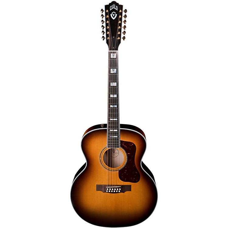 Guild F-412 Acoustic-Electric Guitar with DTAR Multi-Source Pickup System Antique Burst