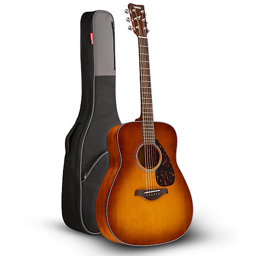 Yamaha FG800 Folk Acoustic Guitar Sand Burst with Road Runner RR1AG Gig Bag-thumbnail