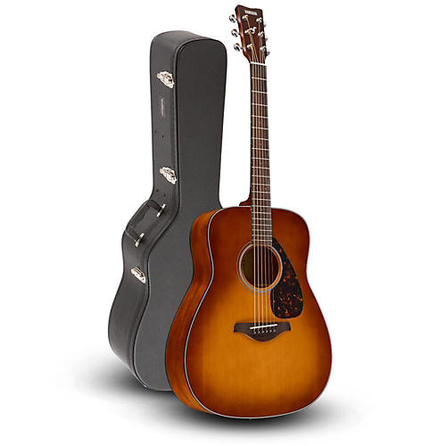 Yamaha fg800 folk acoustic guitar sand burst with road for Yamaha classic guitar