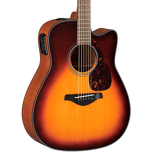 Yamaha FGX700SC Solid Top Cutaway Acoustic-Electric Guitar Brown Sunburst