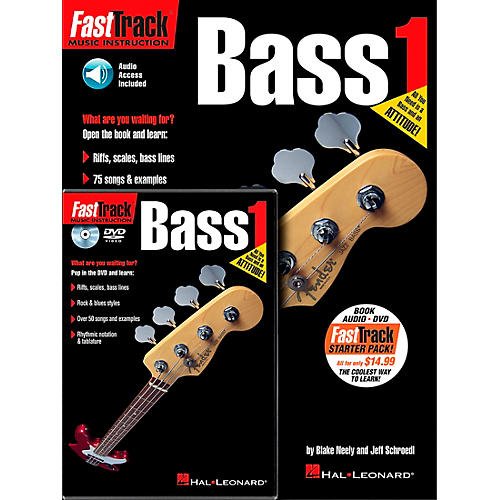 Hal Leonard FastTrack Bass Method Starter Pack - Includes Book/CD/DVD