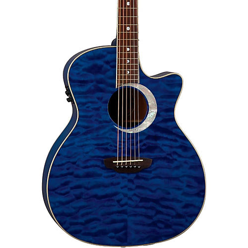 Luna Guitars Fauna Eclipse Grand Concert Acoustic-Electric Guitar Maple with Trans Blue Finish