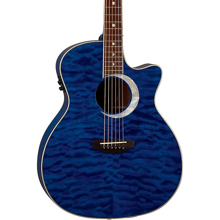 Luna Guitars Fauna Eclipse Grand Concert Acoustic-Electric Guitar Maple with Trans Blue Finish